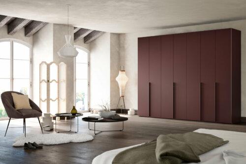Kleiderschrank collect in Mattlack burgundy
