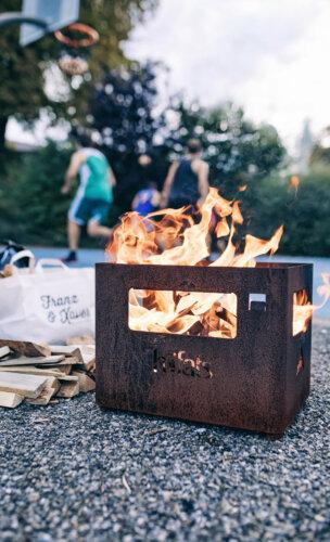 BEER BOX Feuerkorb rostig
